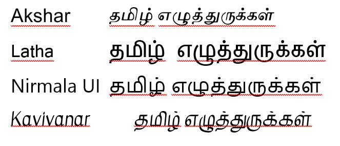 Examples of different fonts for representing Tamil script: Akshar, Latha, Nirmala UI, and Kavivanar.